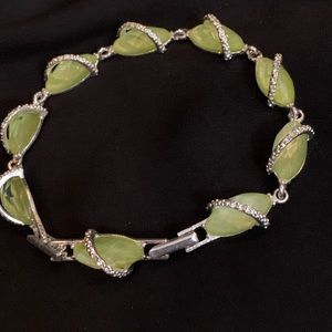 pastel green and silver bracelet